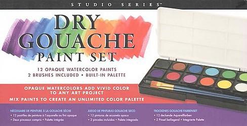Studio Series Dry Gouache Paint Set 12 Opaque Watercolor Paints