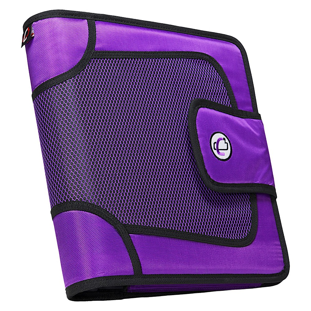 """Image of """"Case•it 2"""""""" Zipper 3 Ring Binder with Internal Pockets Purple"""""""