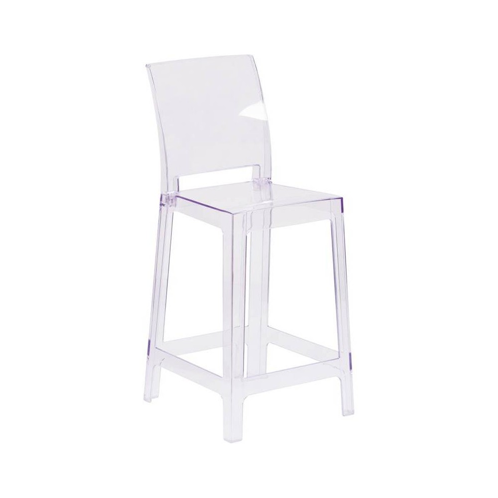 Image of Ghost Counter Stool with Square Back Clear - Riverstone Furniture Collection
