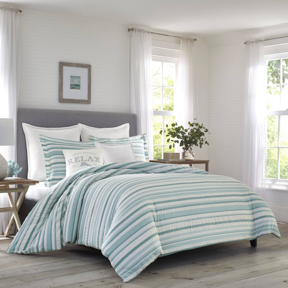 Image of Relax by Tommy Bahama Full/Queen Clearwater Cay Duvet Cover & Sham Set Blue