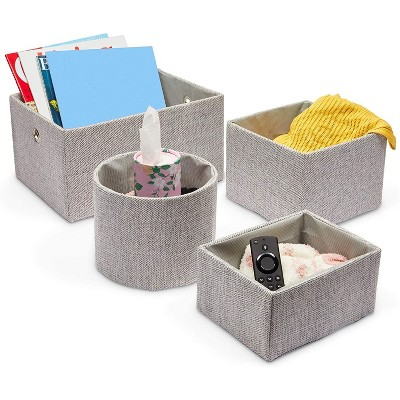 Juvale 4 Pack Fabric Basket Storage Containers Grey Organizers, 4 Sizes