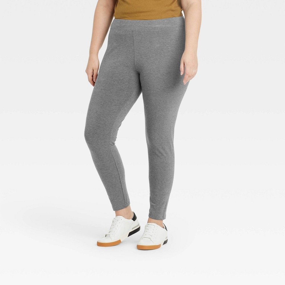 Women 39 S Plus Size High Waisted Ankle Leggings A New Day 8482 Gray 2x