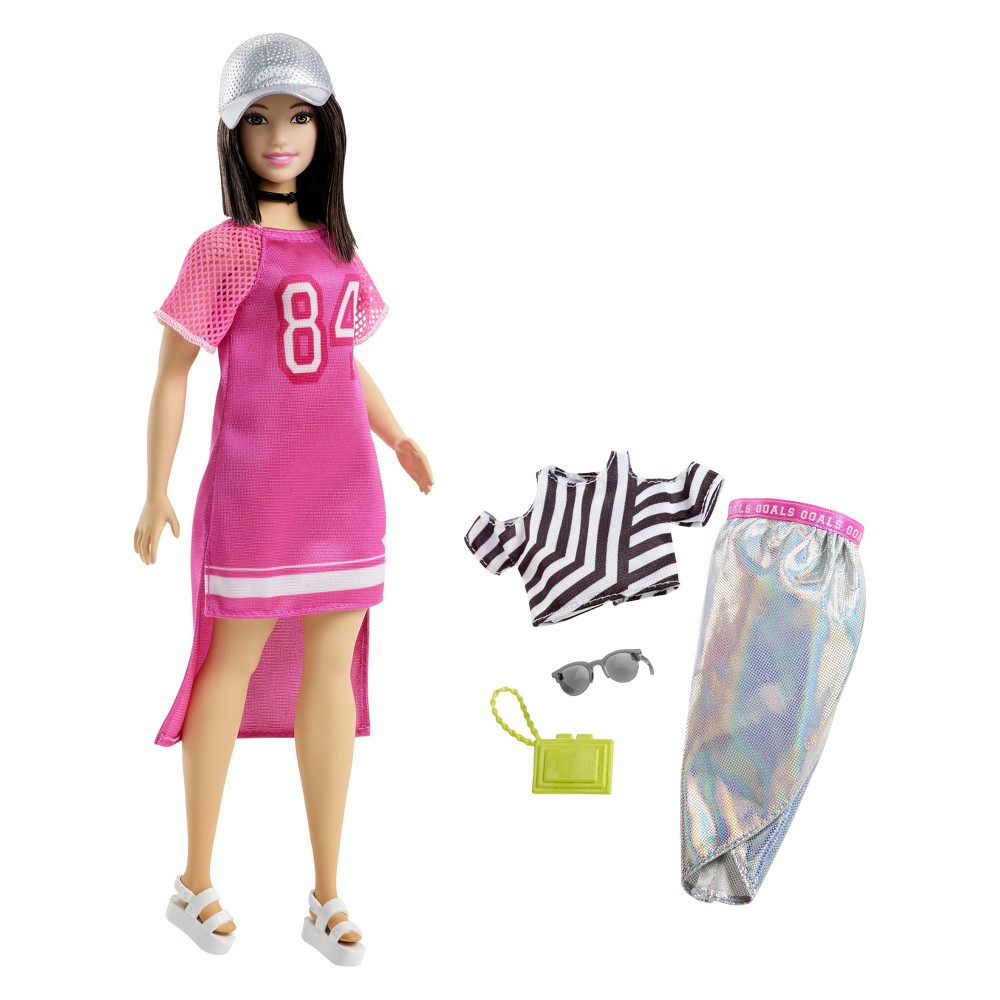 Barbie Fashionista Hot Mesh Doll Every Barbie Fashionistas doll has her own look and style -- from casually cool to super sporty, all fashions are inspired by the latest trends. And an extra outfit included with Barbie doll means twice the possibilities for storytelling and styling fun. With added diversity and more variety in styles, fashions, shoes and accessories, there are infinitely more ways to spark imaginations and play out stories -- because you can be anything with Barbie! Includes Barbie Fashionistas doll wearing fashion and shoes, one additional outfit (a dress and/or top and bottom), one purse and two accessories. Each sold separately, subject to availability. Dolls cannot stand alone. Clothing is designed to mix and match with dolls of the same body type; select pieces can be shared across the line. Flat shoes fit dolls with articulated ankles or flat feet. Colors and decorations may vary. Gender: Female.
