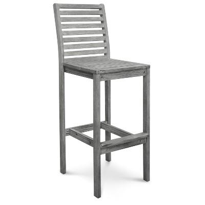 Vifah Renaissance Outdoor Hand-scraped Bar Chair - Gray