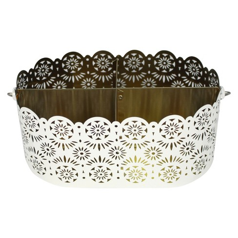 White Floral Decorative Tin - Spritz™ - image 1 of 1