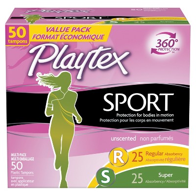 Playtex Sport Multipack Tampons - Plastic - Unscented - Regular/Super - 50ct