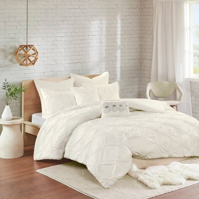 Stella Full/Queen 7pc Elastic Embroidered Chambray Duvet Cover Set Ivory