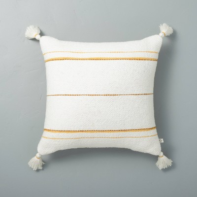 """18"""" x 18"""" Dotted Stripes with Tassels Throw Pillow Sour Cream/Yellow - Hearth & Hand™ with Magnolia"""