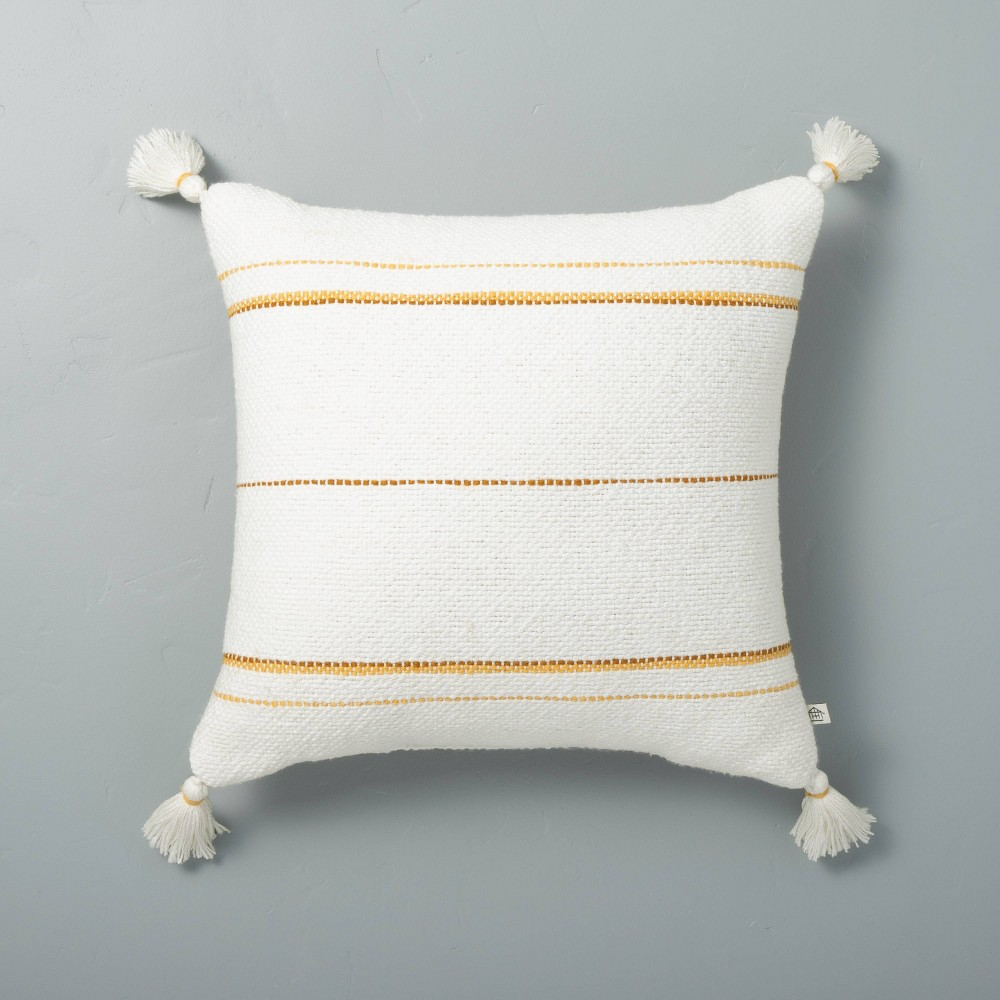 18 34 X 18 34 Dotted Stripes With Tassels Throw Pillow Sour Cream Yellow Hearth 38 Hand 8482 With Magnolia