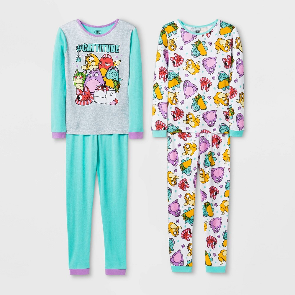 Image of Girls' Lost Kitties 4pc Pajama Set - Blue 10, Girl's