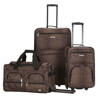 Rockland Spectra 3pc .Expandable Rolling Luggage Set - Leopard