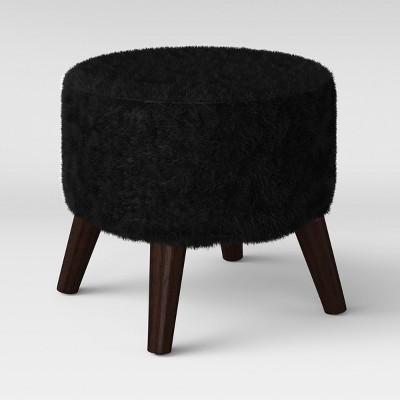 Riverplace Round Cone Leg Ottoman Black Faux Fur - Project 62™