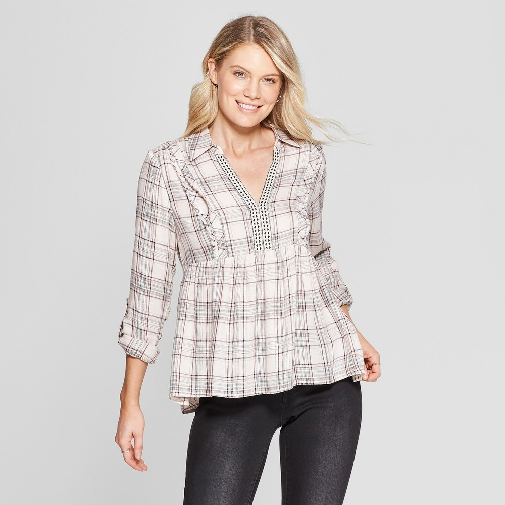 Women's Plaid Long Sleeve Collared Popover Top - Knox Rose Pink M