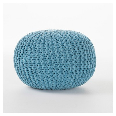 Moro Pouf Ottoman - Aqua - Christopher Knight Home