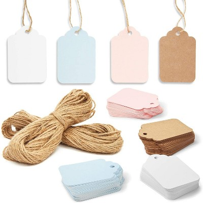 Bright Creations 240-Pack Paper Gift Tags 4 Colors with Jute String for Arts and Crafts, Party Favors, 4 Colors
