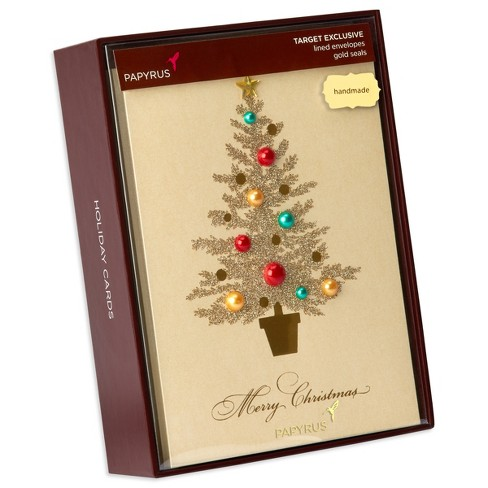 papyrus 8ct pearl tree gems handmade holiday boxed cards target