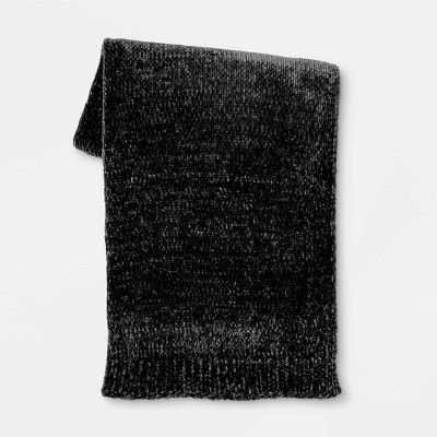 "50""x60"" Shiny Chenille Throw Blanket Black - Project 62™"