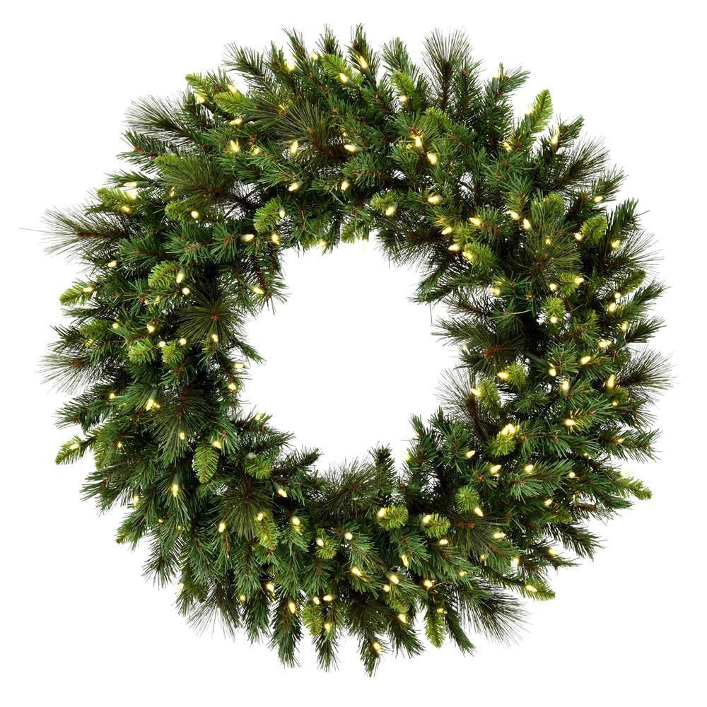 "Image of ""Vickerman 60"""" Bangor Mix Pine Wreath with 600 Warm White Dura-lit LED lights"""