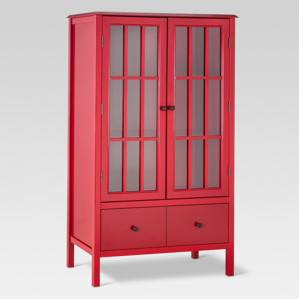 Windham Tall Storage Cabinet with Drawer Red - Threshold