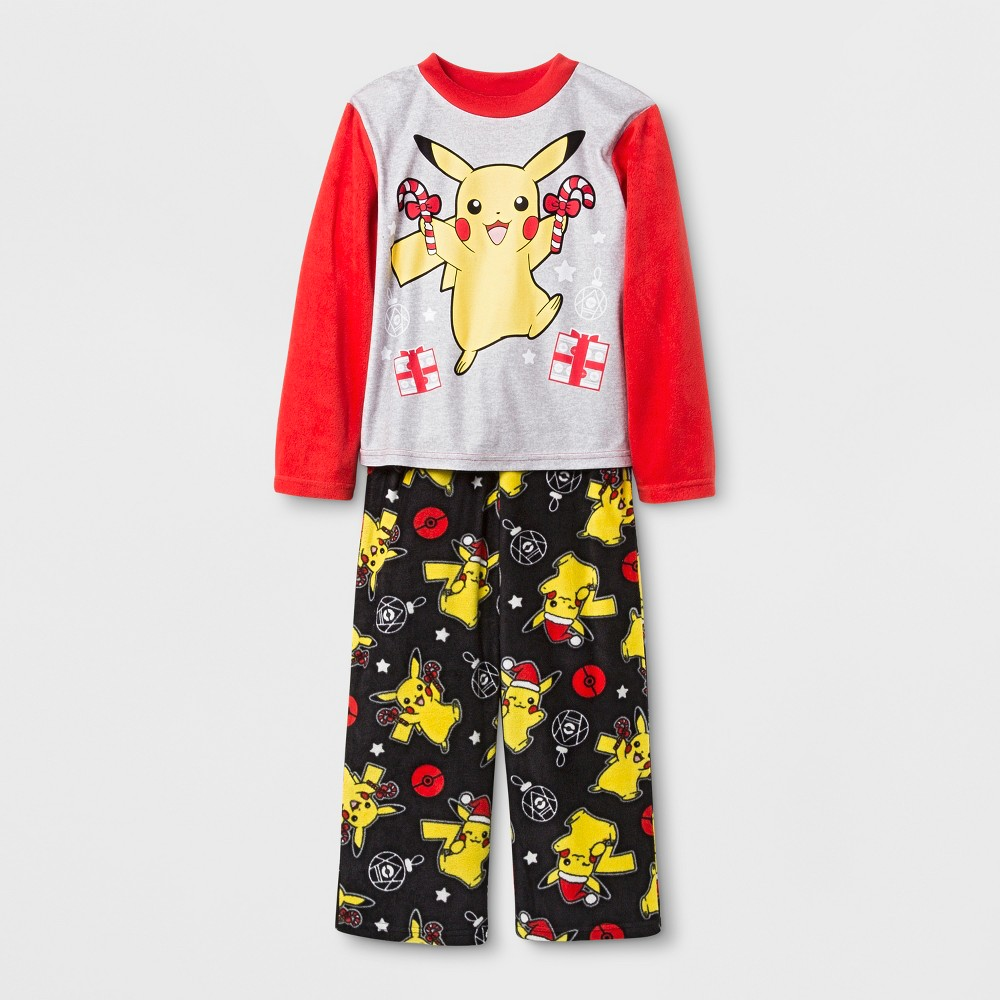 Boys' Pokemon Pikachu 2pc Pajama Set - Red/Gray/Black 10
