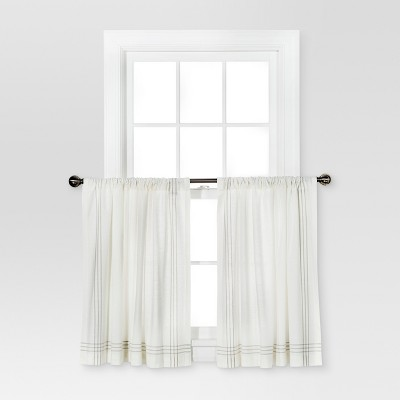 "36""x42"" Stiped Border Curtain Tiers Cream/Gray - Threshold™"
