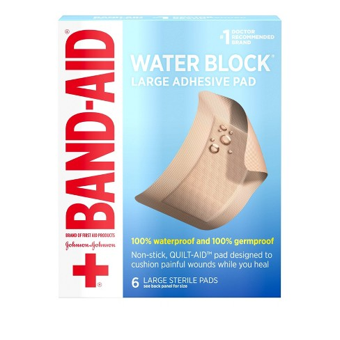 Band Aid Brand First Aid Water Block Waterproof Pads - 2 9in x 4in / 6 ct