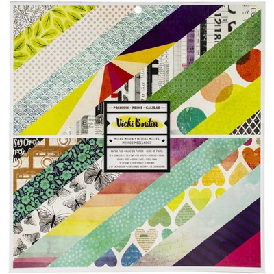 """American Crafts Double-Sided Paper Pad 12""""X12"""" 24/Pkg-Color Kaleidoscope, 12 Designs/2 Each"""