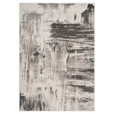 Ivory/Gray Solid Loomed Accent Rug 4'X6' - Safavieh