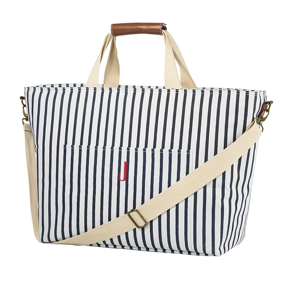 Cathy's Concepts Striped Cooler Tote - J, Blue White