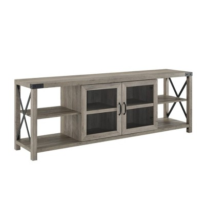 """Glass Door Industrial Farmhouse X Side TV Stand for TVs up to 80"""" Gray Wash - Saracina Home"""