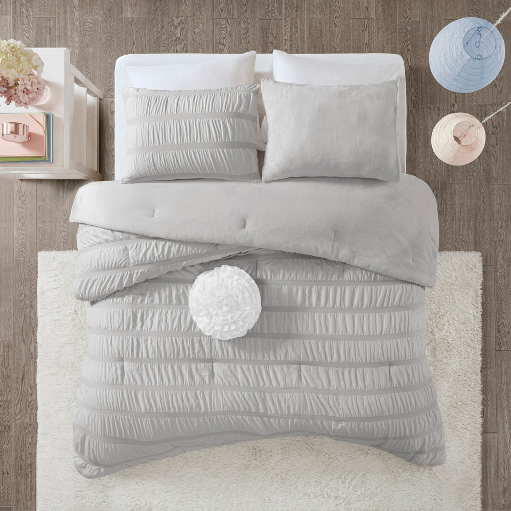 3pc Twin/Twin XL Ashlyn Ruched Comforter Set Gray