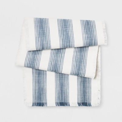 72 X14  Woven Stripe Runner Fringe Blue - Threshold™