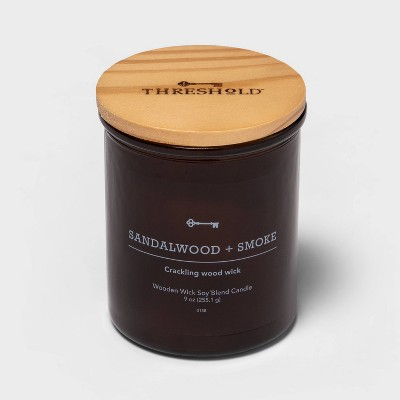 Lidded Amber Glass Jar Crackling Wooden Wick Sandalwood and Smoke Candle - Threshold™