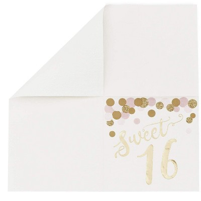 """Sparkle and Bash 50 Pack Sweet 16 Disposable Napkins For Party, 6.5"""", Gold Foil"""