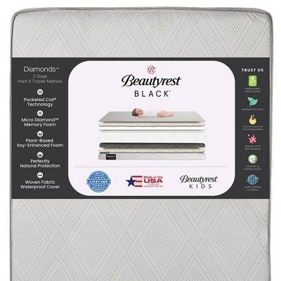 Beautyrest Black Diamond 2 Stage Crib and Toddler Mattress - White