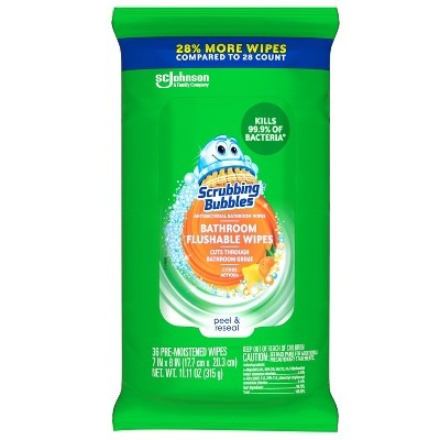 Scrubbing Bubbles Flushable Wipes 28% More - 36ct