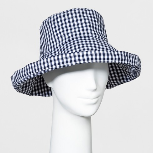 51437c6eb04 Women s Gingham Kettle Bucket Hat - A New Day™ Navy White   Target