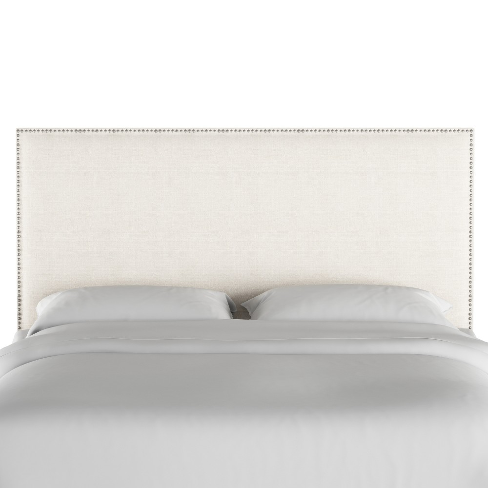 Full Arcadia Nailbutton Headboard Linen Talc with Silver Nail Buttons - Skyline Furniture