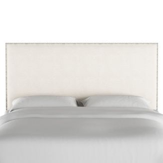 Twin Arcadia Nailbutton Headboard Linen Talc with Silver Nail Buttons - Skyline Furniture