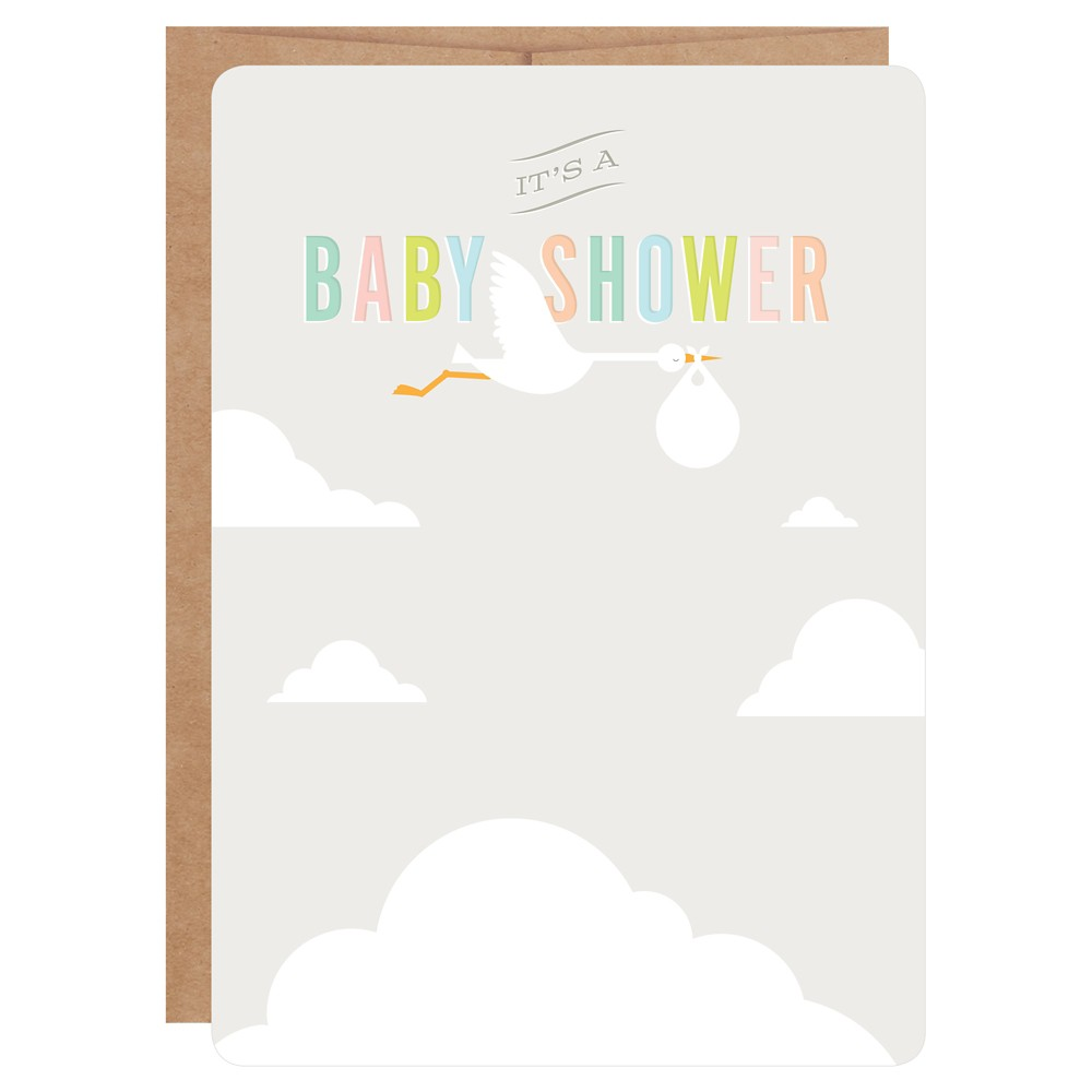 Inklings Paperie Gray Stork Print-on Baby Shower Invitations - 12ct