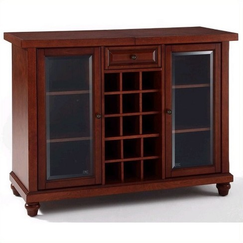 Wood Sliding Top Home Bar Cabinet in Vintage Mahogany Brown-Pemberly Row - image 1 of 4