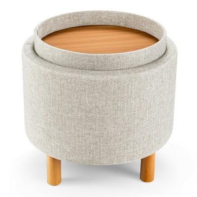 Gymax Round Storage Ottoman w/Tray Top Accent Padded Footrest w/Wood Legs Grey/Beige