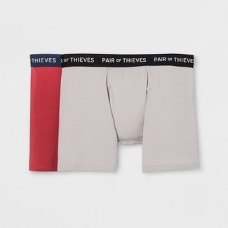 Pair of Thieves Men's SS 2pk Boxer Briefs - Grey/Red L