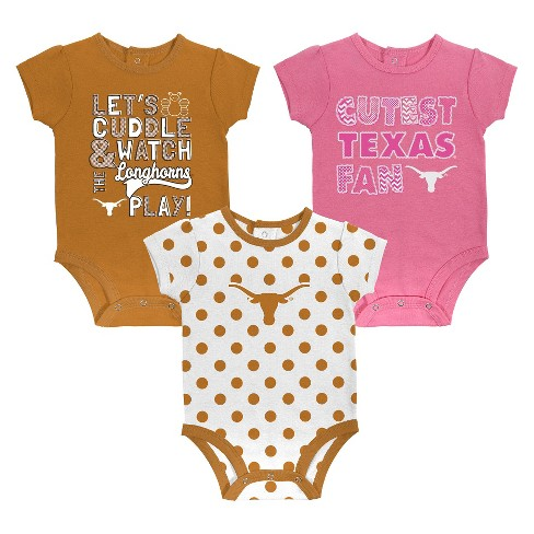 f4d8c9824 Texas Longhorns Girl 3pk Body Suit 0-3 M   Target