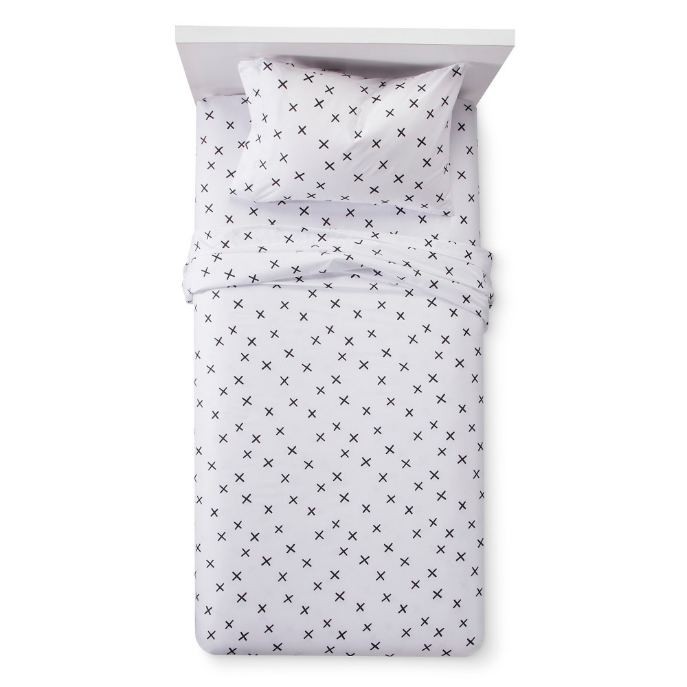 X Marks the Spot Sheet Set (Full) Black & White - Pillowfort, Black White