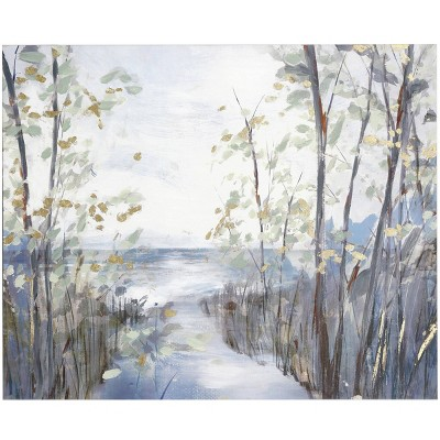 Crosscut to the Creek Hand Embellished Landscape on Stretched Unframed Wall Canvas - StyleCraft