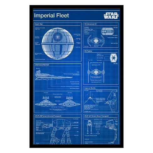 Star Wars - Imperial Blueprint Framed Poster Trends International - image 1 of 5