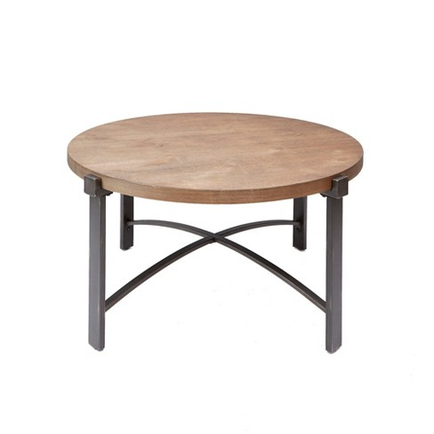 Silverwood Lewis Coffee Table With Round Wood Top Brown