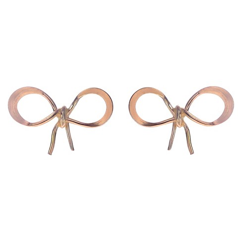 Women's Journee Collection Handmade Bow Stud Earrings in Goldfill Sterling Silver - image 1 of 2