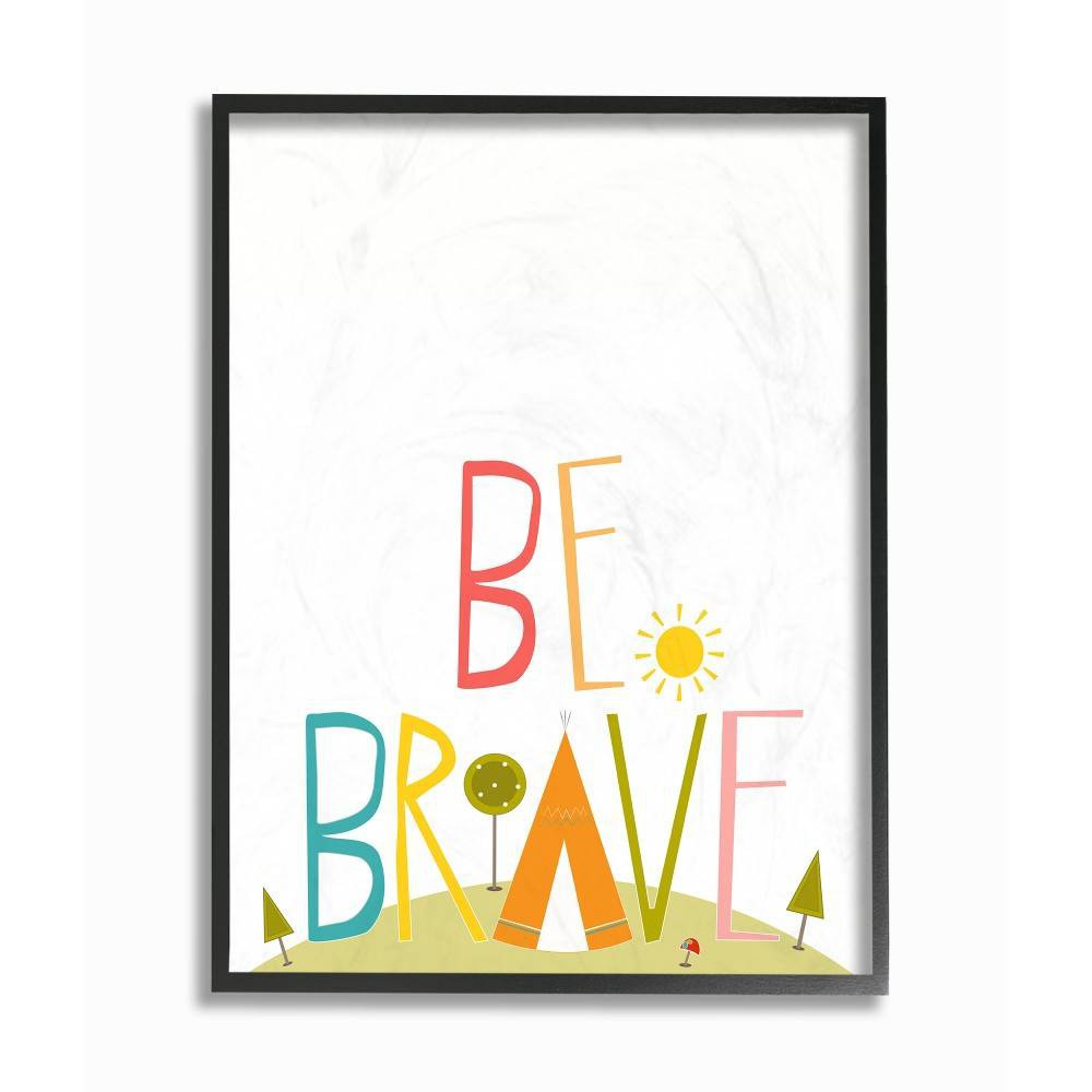 "Image of ""11""""x1.5""""x14"""" Be Brave Tee Pee Typography Framed Giclee Texturized Art - Stupell Industries"""
